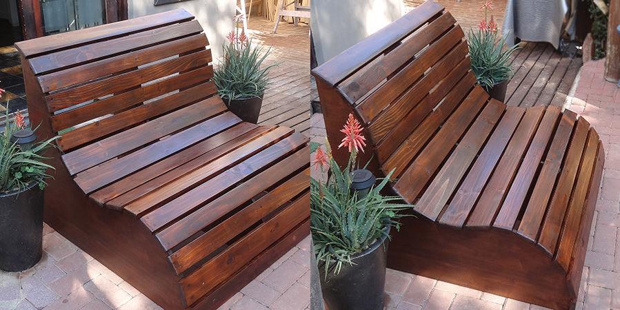Loungebank van pallets for Praxis tuinmeubelen