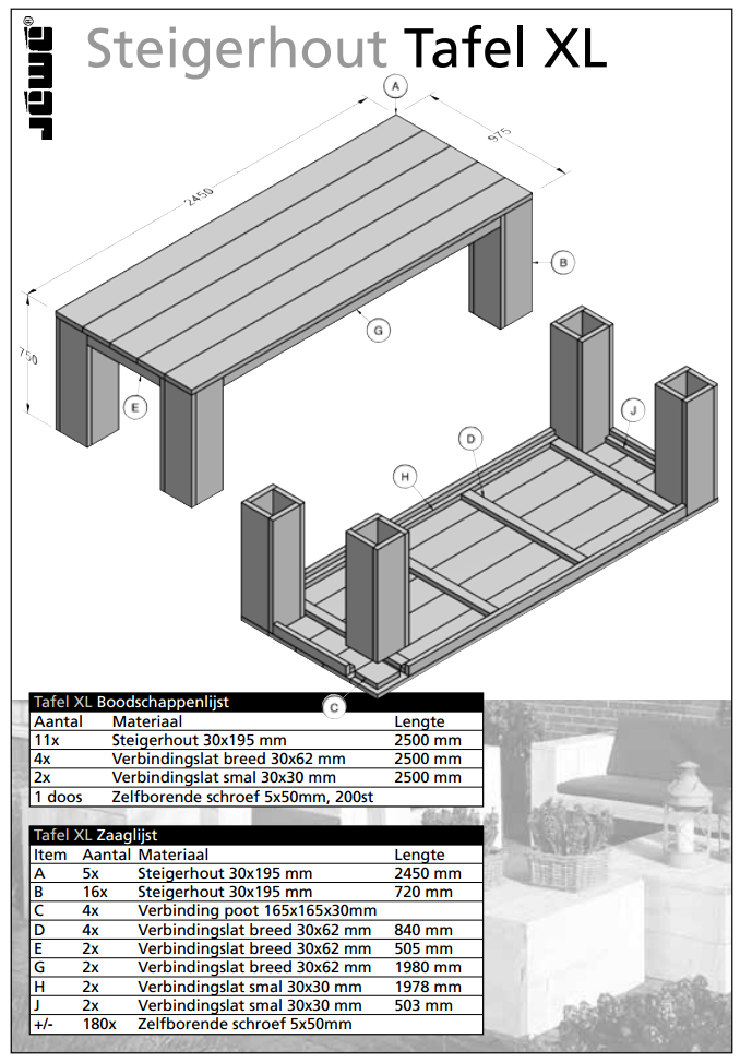Bouwtekening houten tafel xl for Bouwtekening tafel