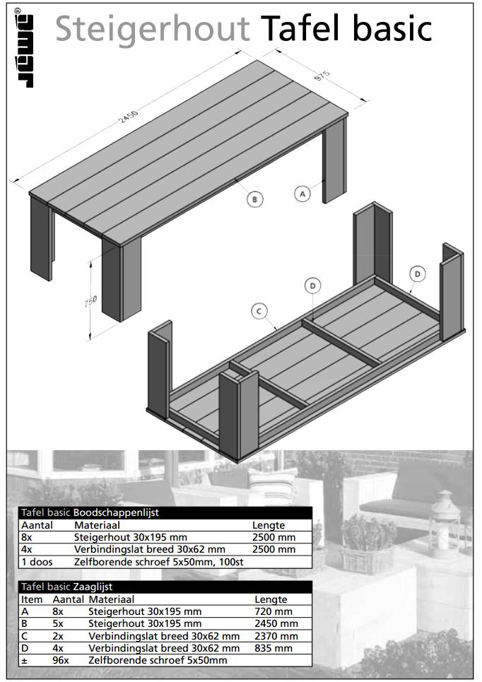 Bouwtekening houten tafel basic for Bouwtekening tafel