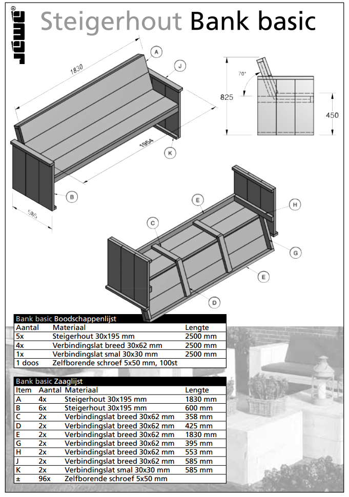 Bouwtekening basic houten bank   voordemakers nl