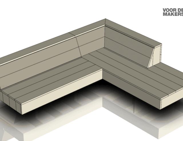 Een zwevende loungebank maken uit steigerhout for Steigerhouten bank bouwtekening